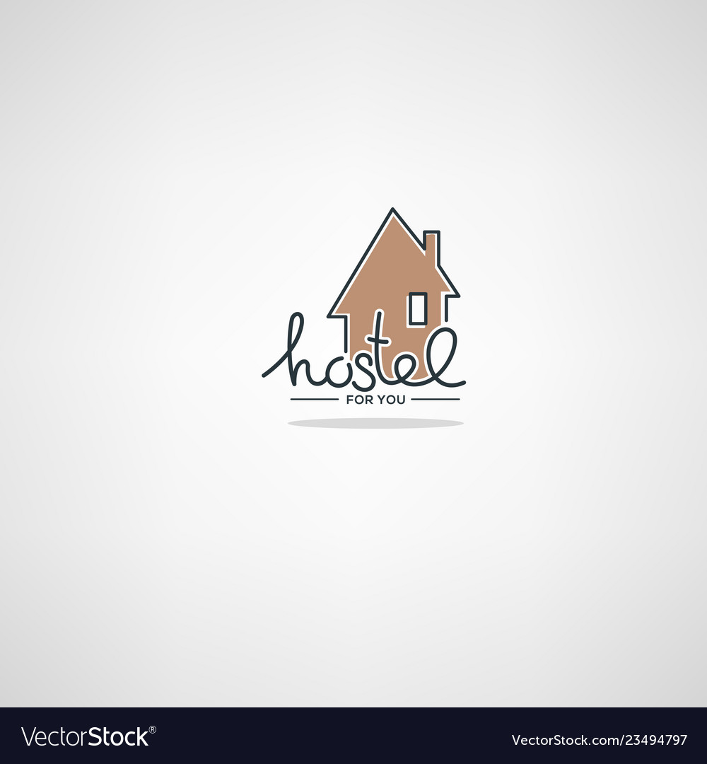 Hostel for you logo template in doodle style