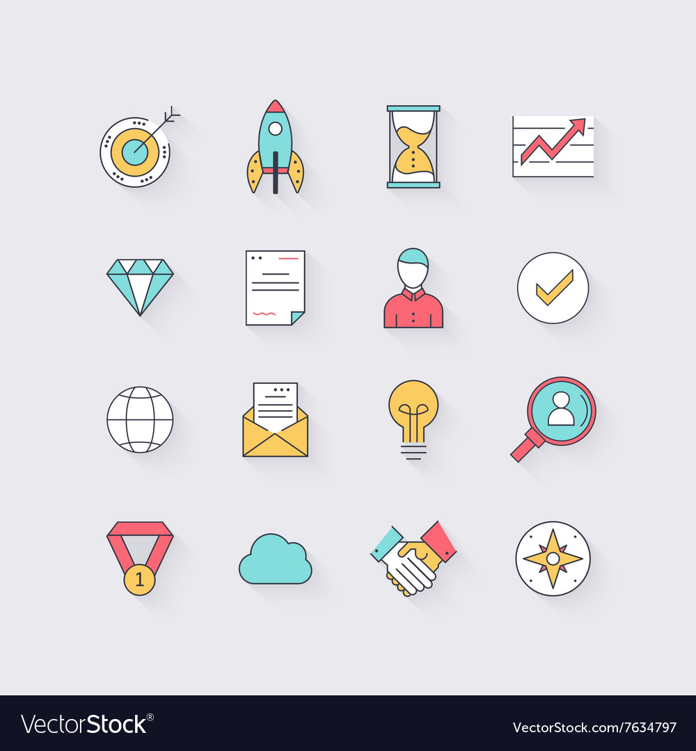 Line icons set in flat design Elements of business
