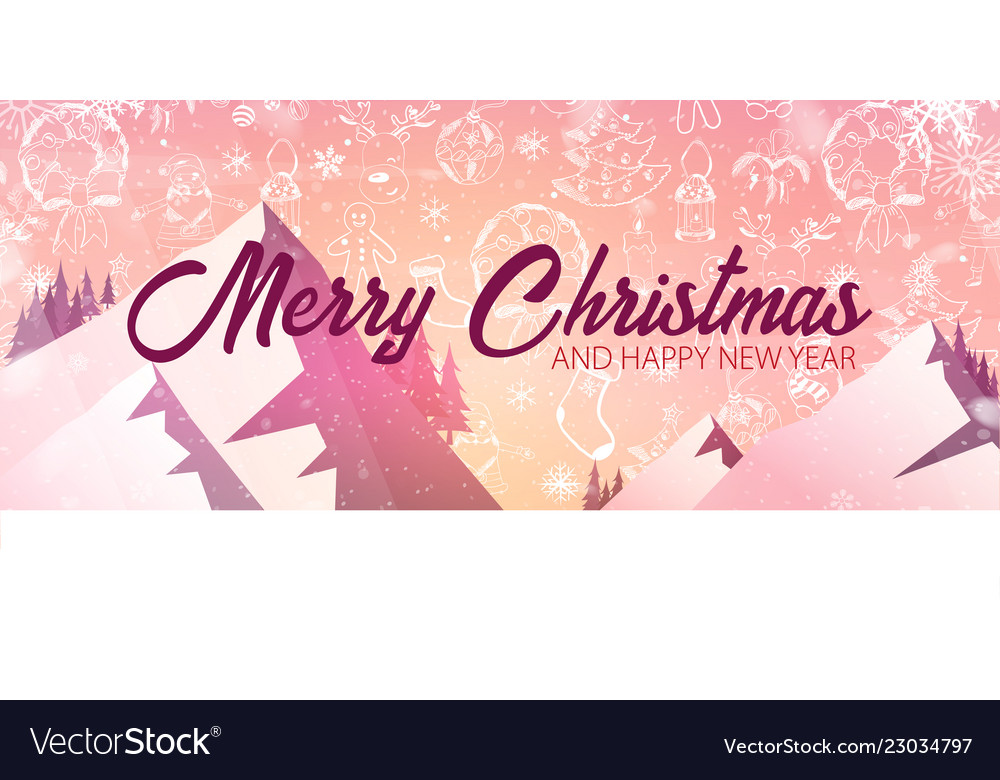 merry christmas and happy new year banner vector image vectorstock
