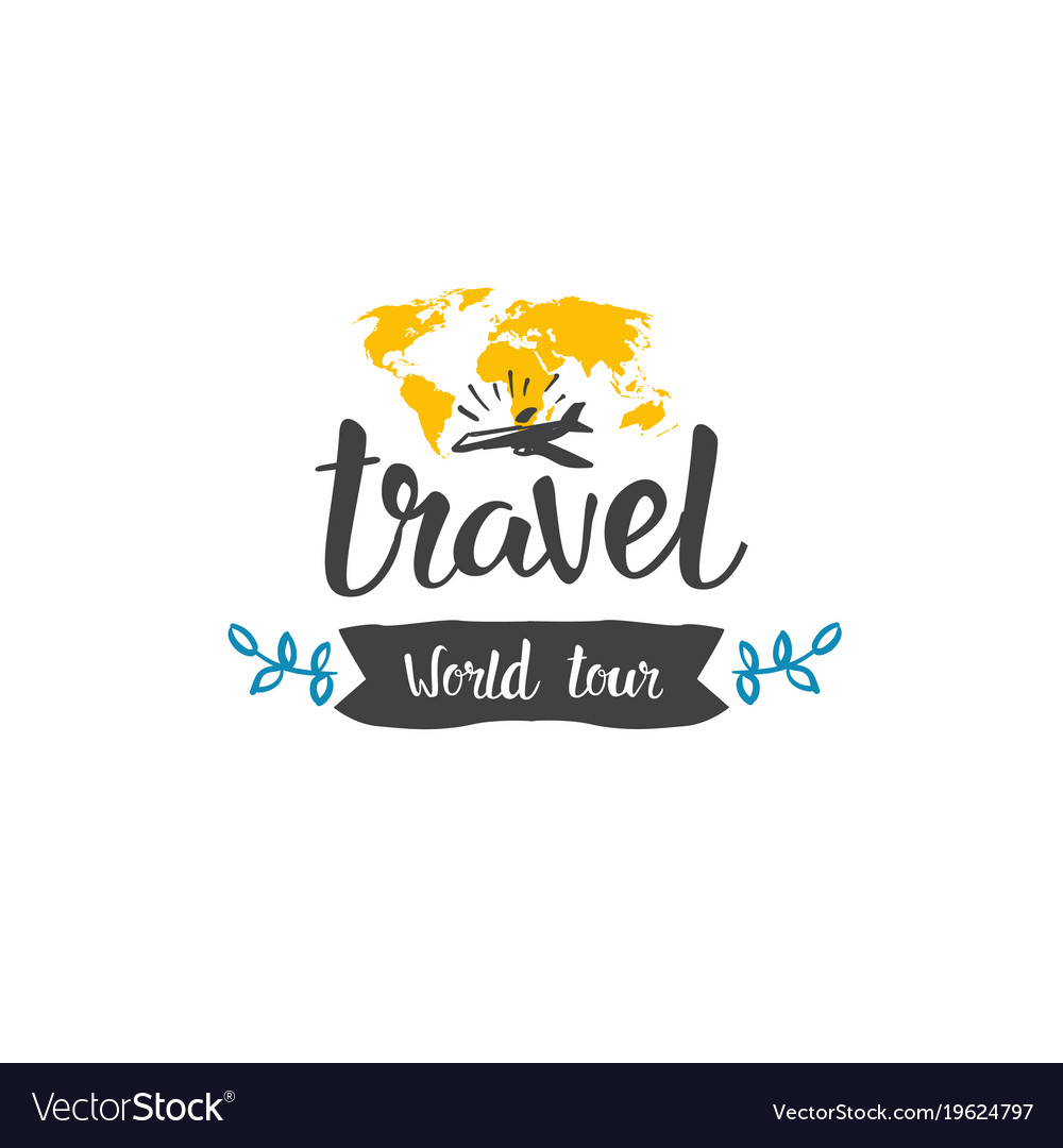 Travel world tour icon hand drawn lettering