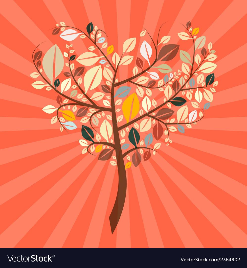Abstract Retro Heart Shaped Tree