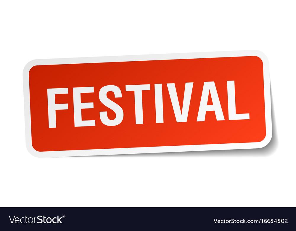 Festival square sticker on white