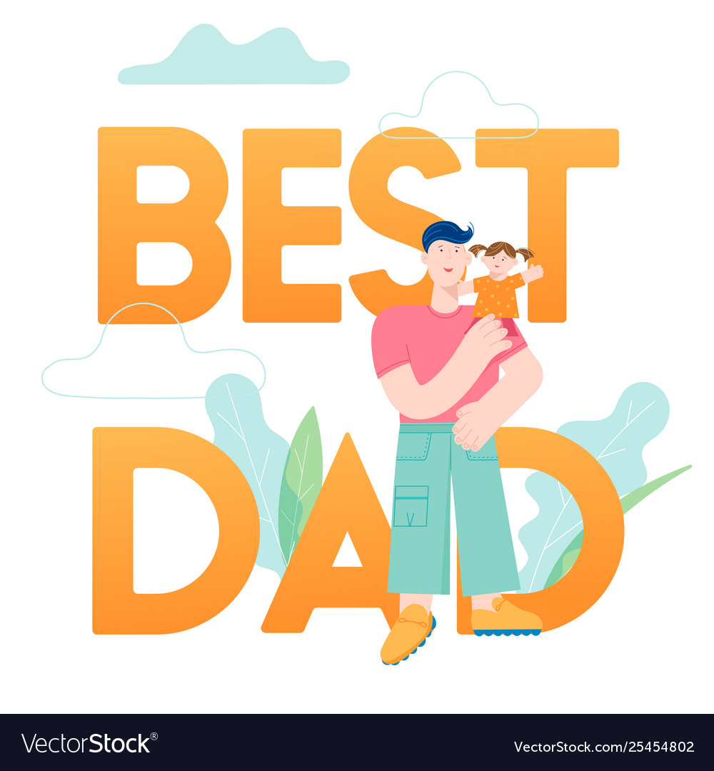 Happy father day concept card with smiling dad