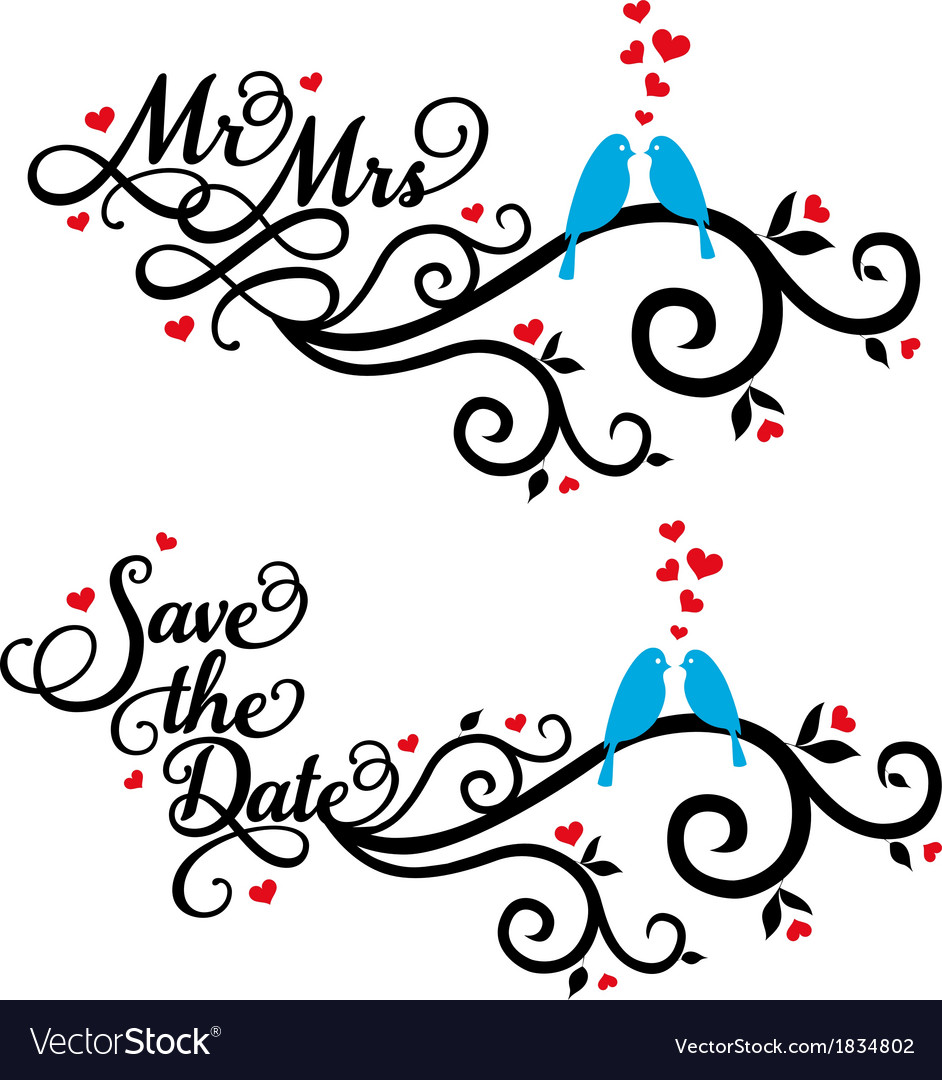 mr and mrs save the date wedding birds royalty free vector