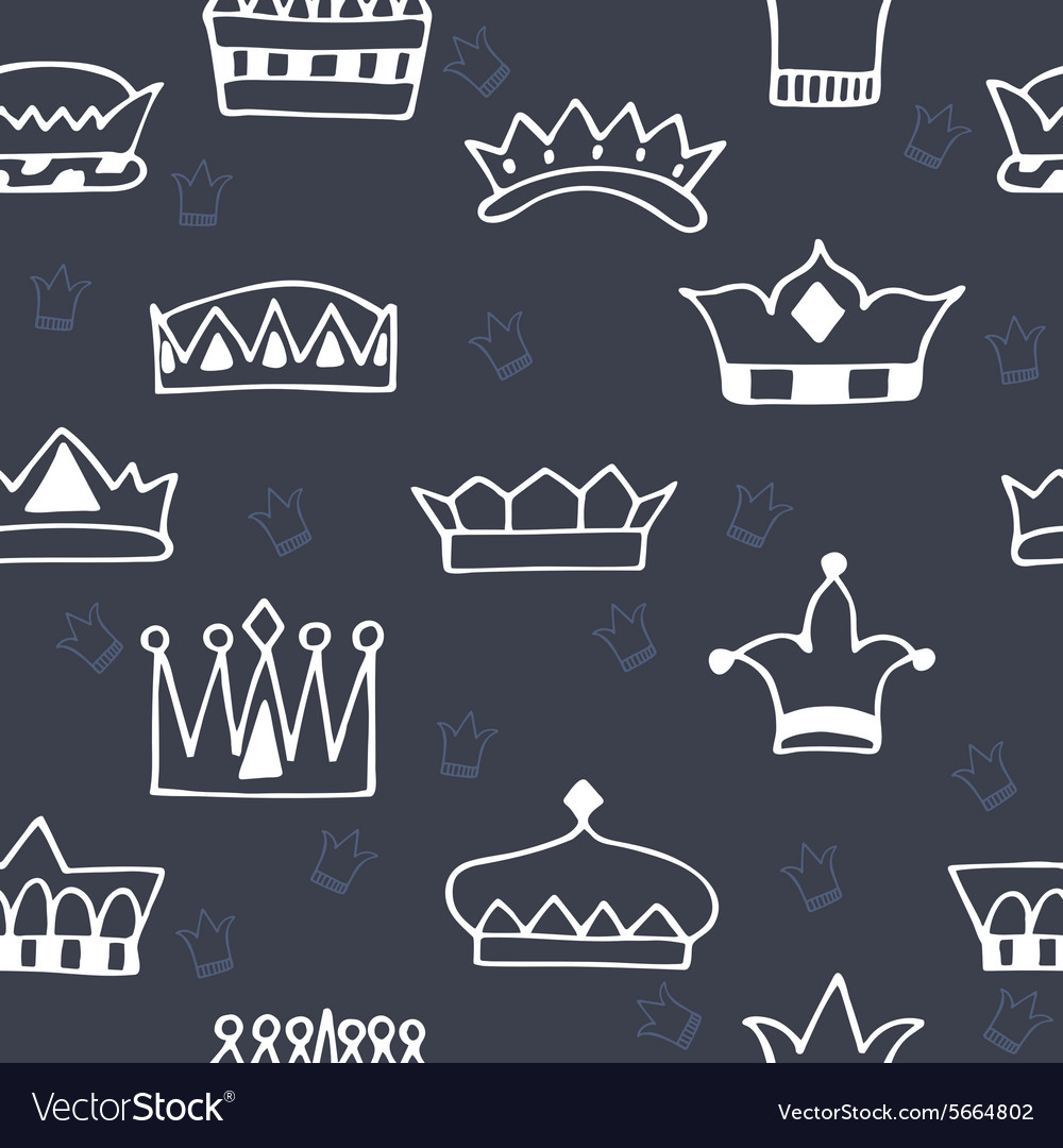 Seamless pattern with hand drawn crowns on dark