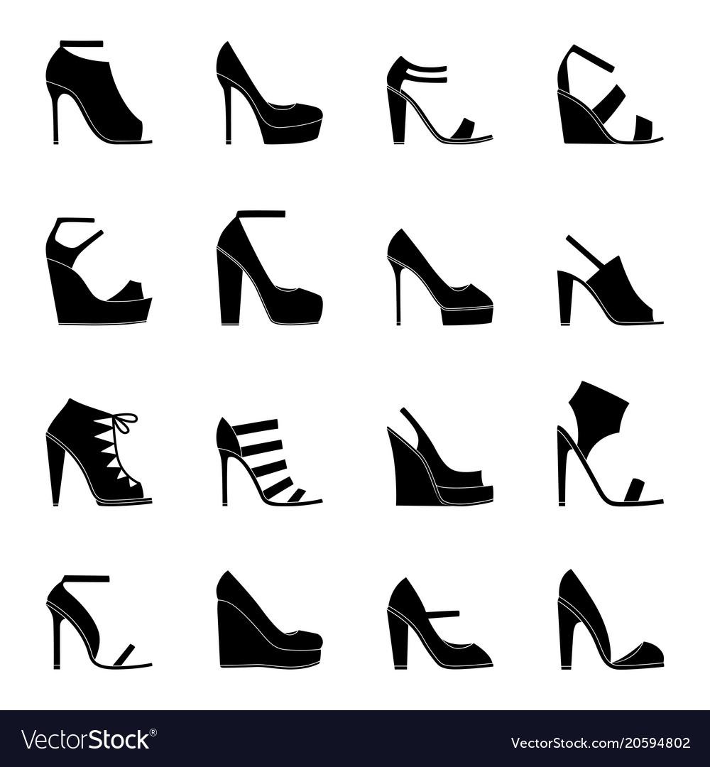 Set of icons of woman shoes