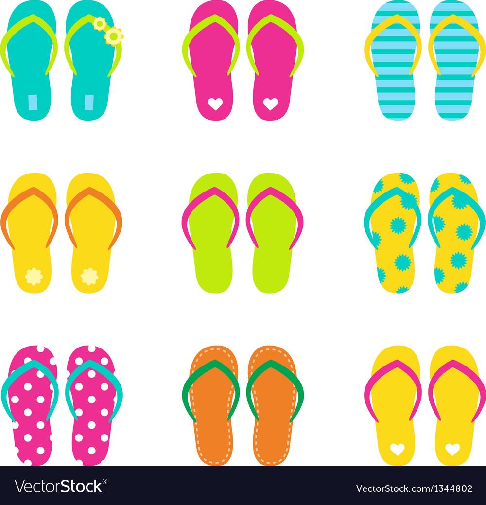 Summer flip flops set isolated on white vector image