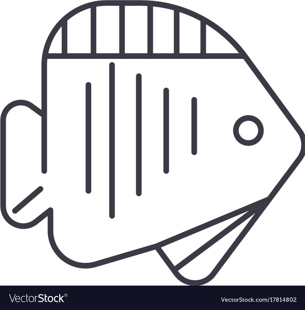 Tropical fish line icon sign