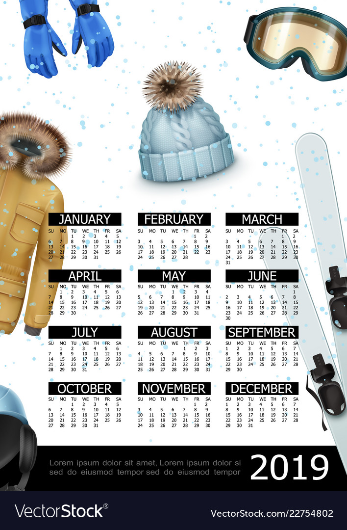 Winter sport 2019 year calendar poster