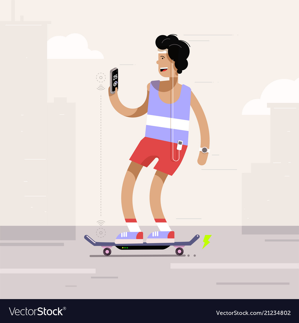 Young man riding electric skateboard in the city