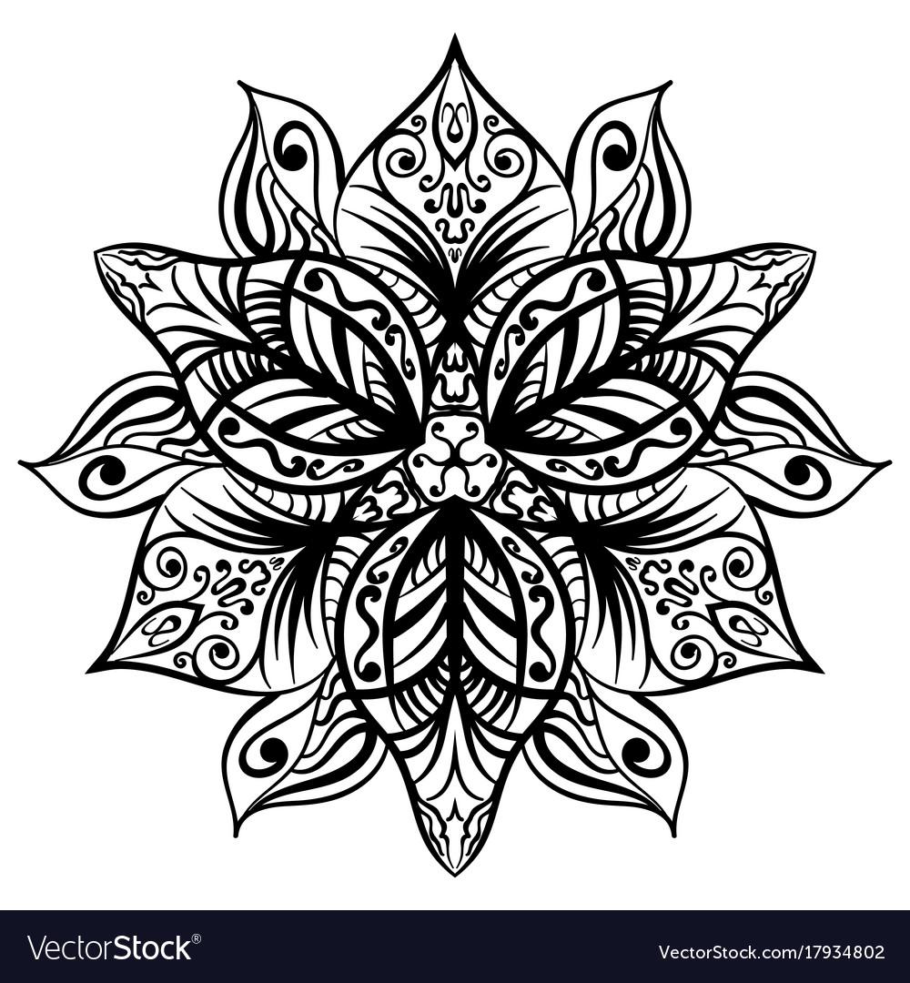 Zentangle Style Black Flower Sketch Vector Image