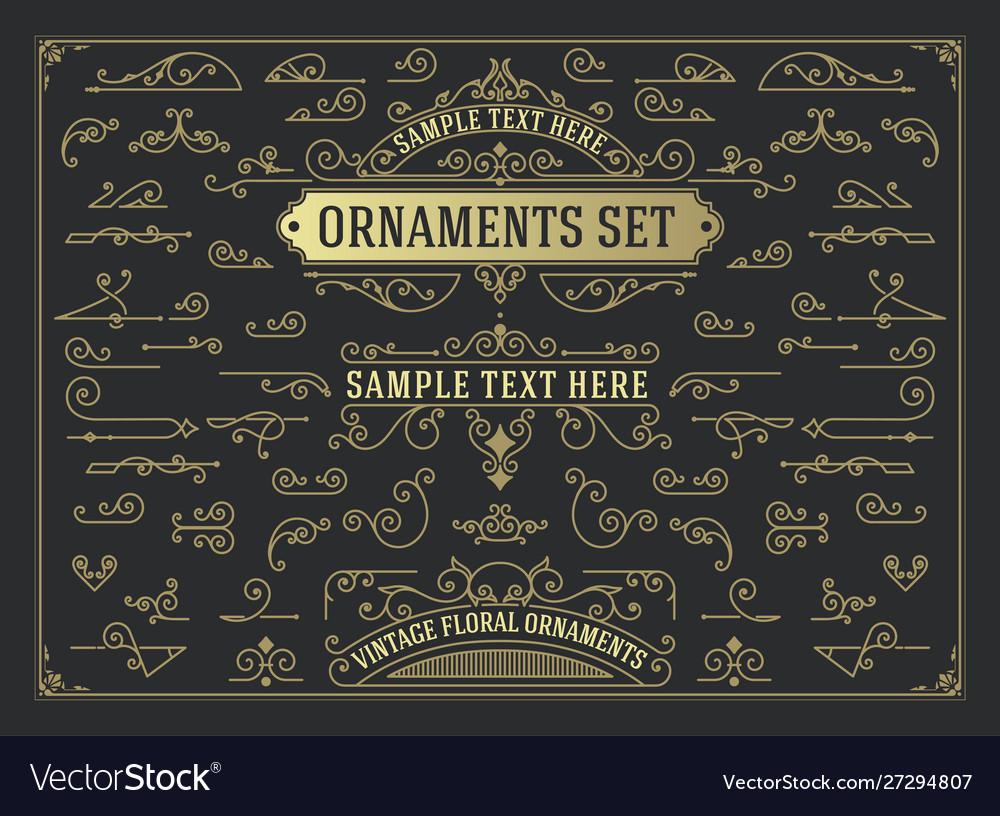 Antique set swirls and scrolls design elements