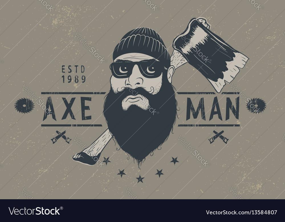 Bearded lumberjack with ax