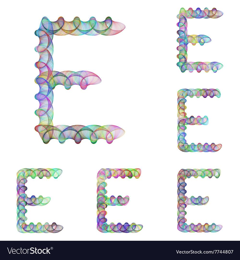 Colorful ellipse fractal font - letter E