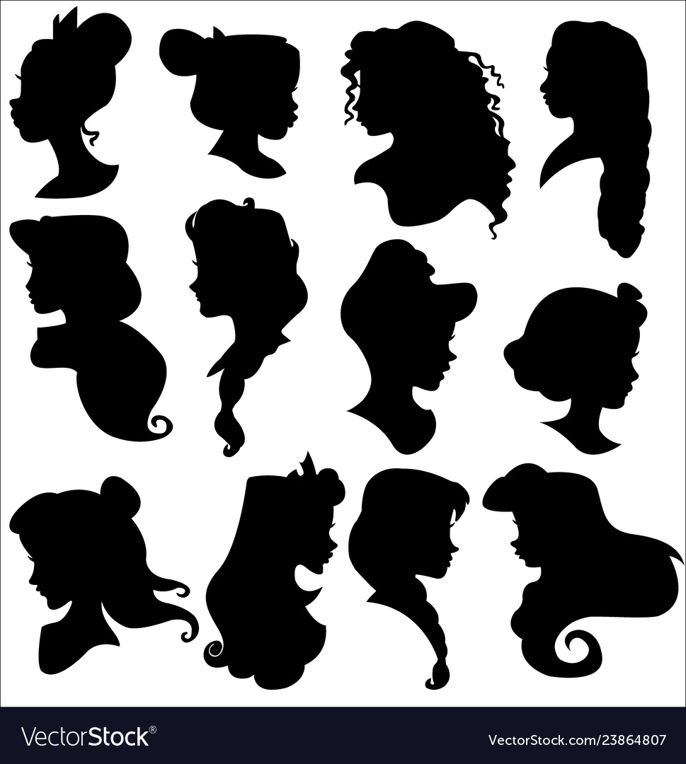 Disney princess silhouettes set