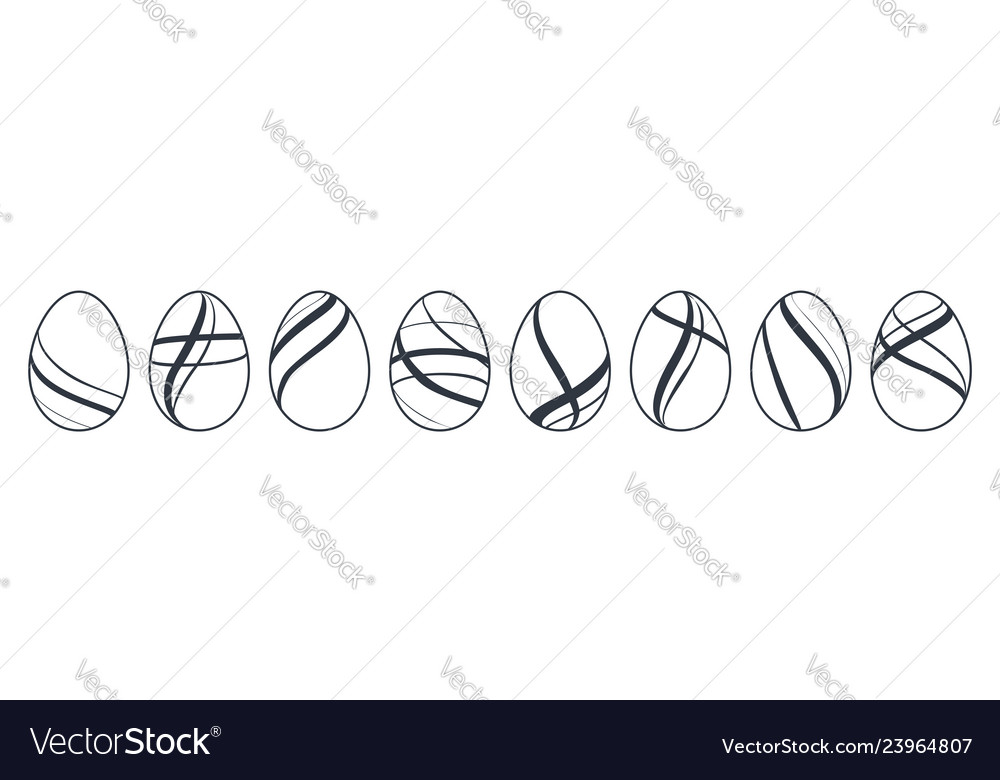 Easter egg icons black eggs set isolated white