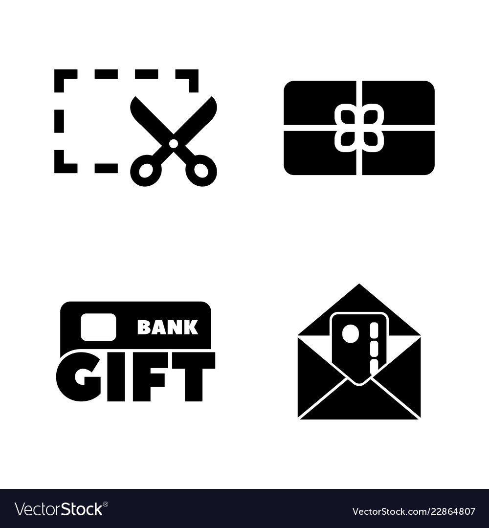 Gift cards coupon simple related icons