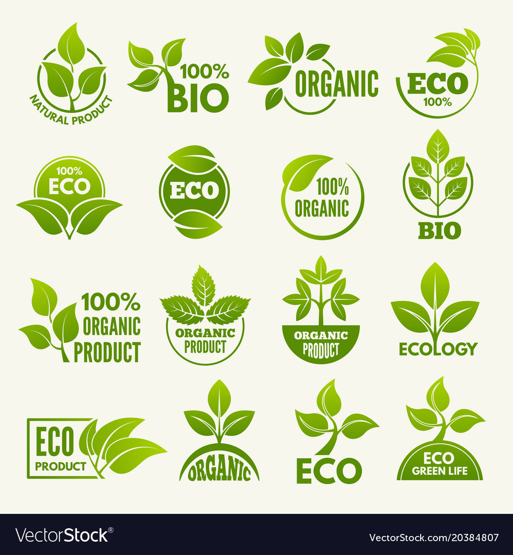 Logos of eco style business concepts to protect