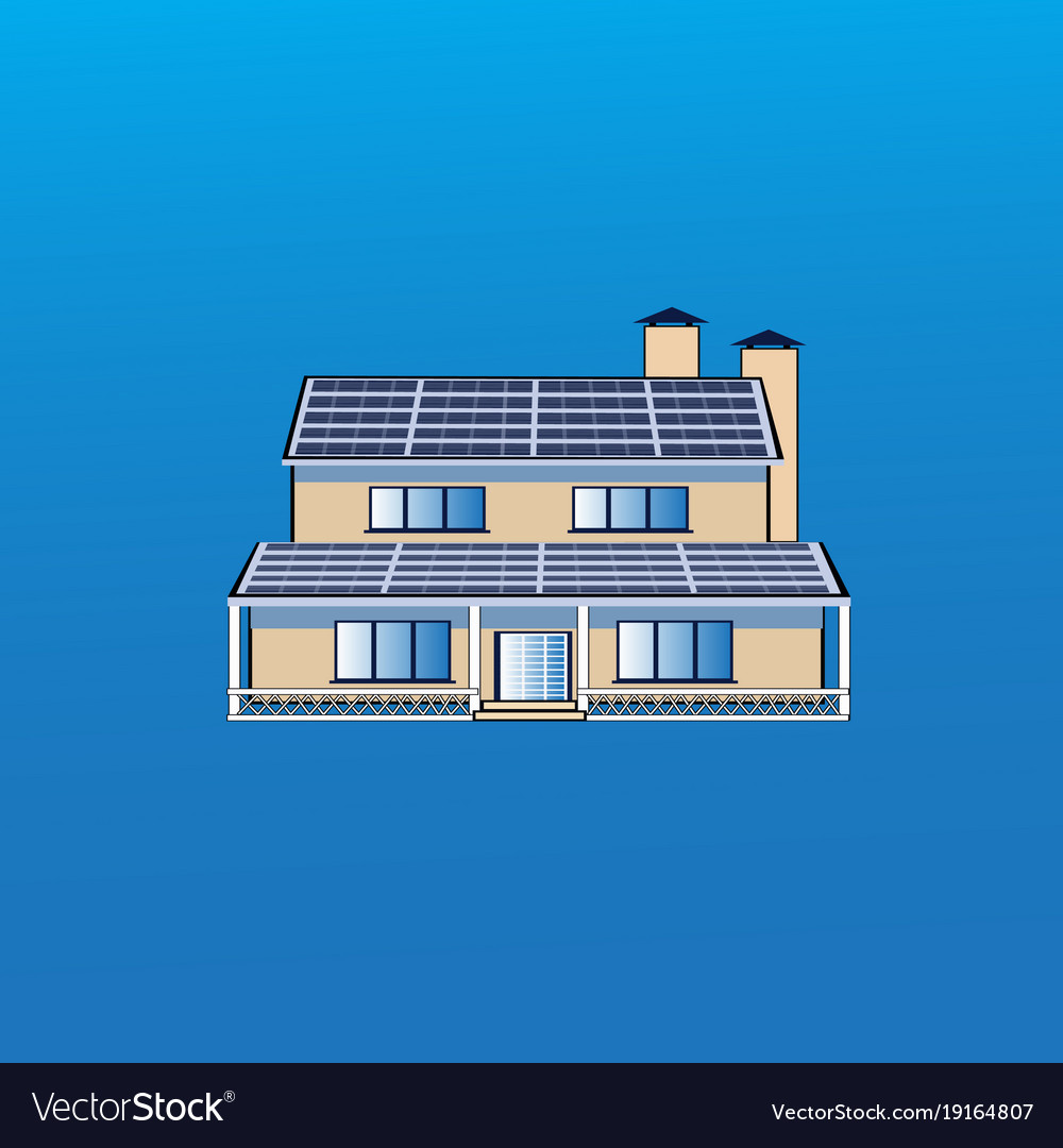 Modern house building icon with solar battery
