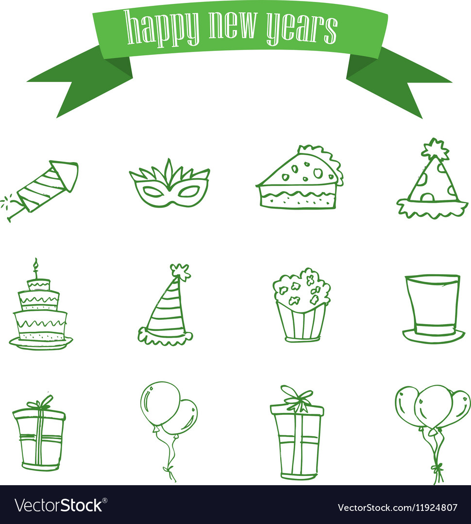 New Year element of icons vector image