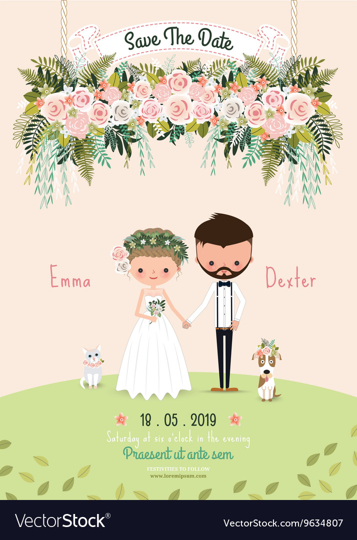 Rustic wedding couple invitation card floral vector image stopboris Image collections