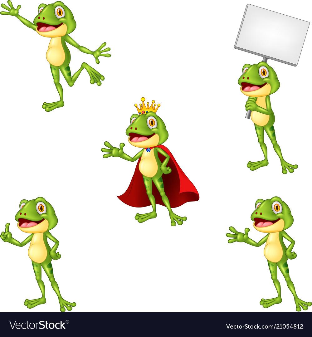 Cartoon frog collection set