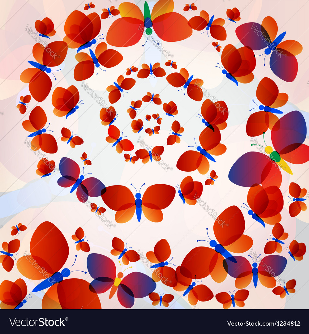 Colorful transparent butterflies concentric circle vector image