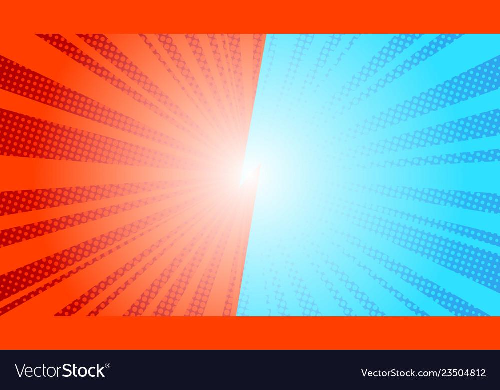 Comic blue sun rays background pop art retro