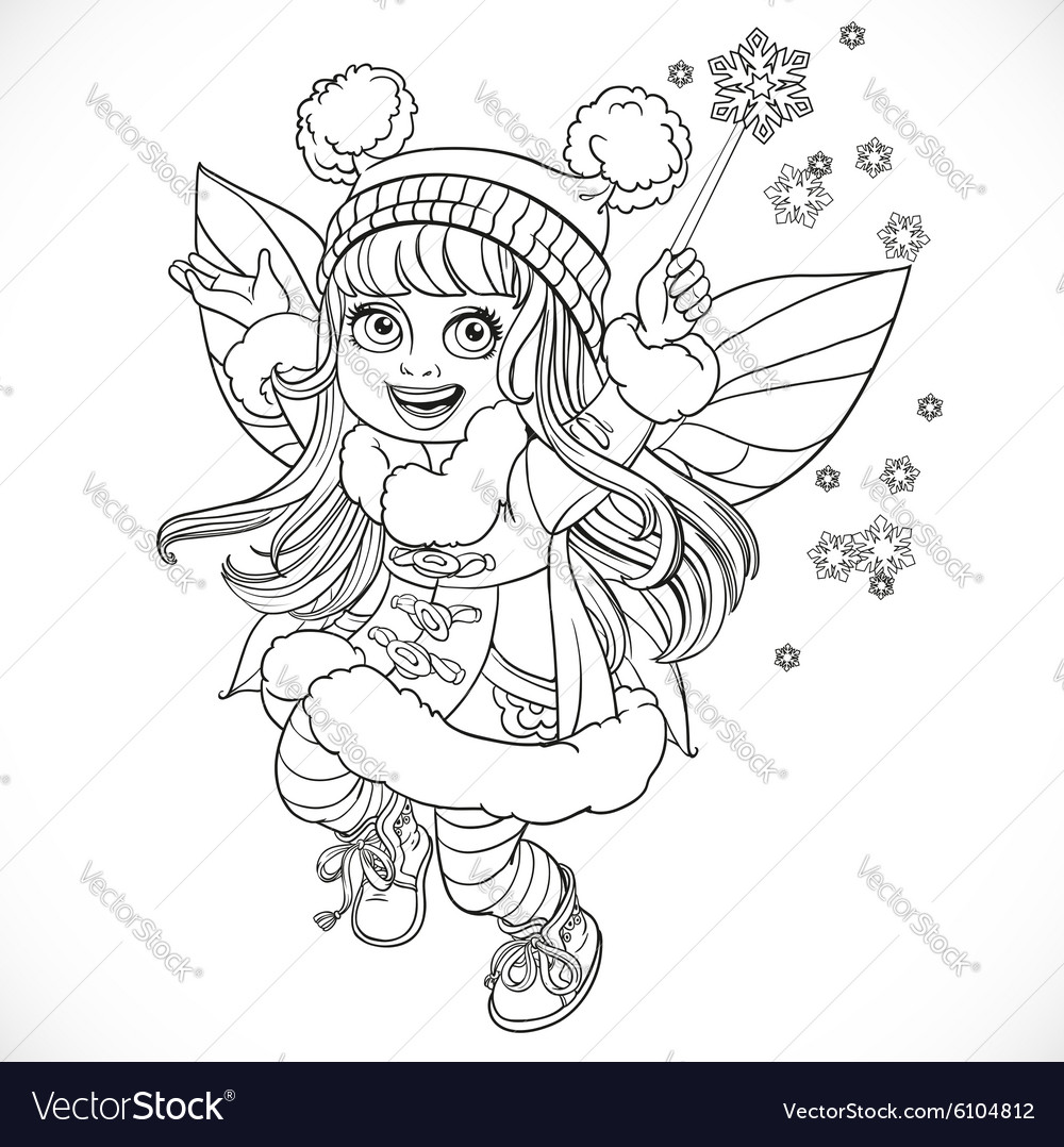 Cute little winter fairy girl in a blue coat with