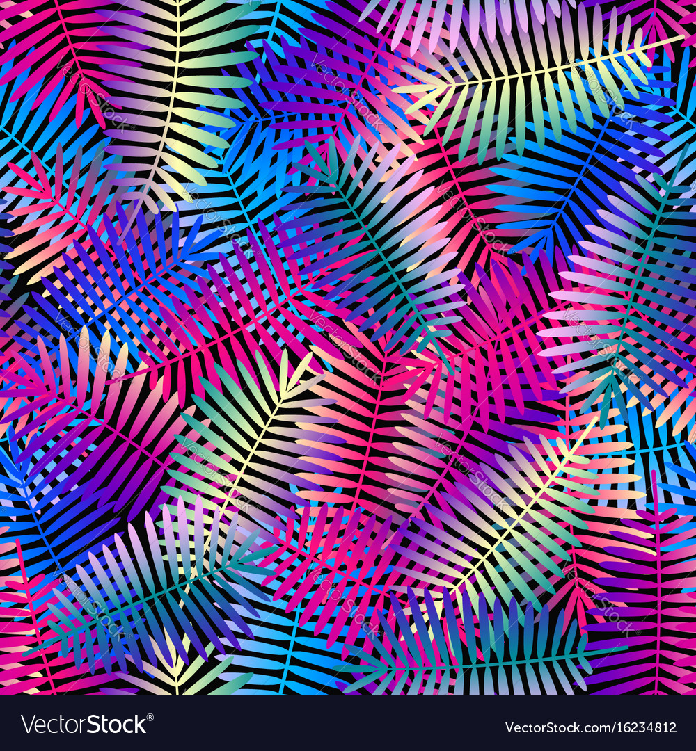 Exotic leaves bright colors seamless pattern