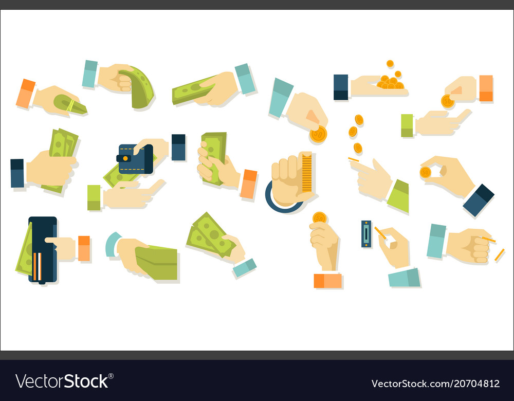 Flat set of hands with dollars coins and vector image