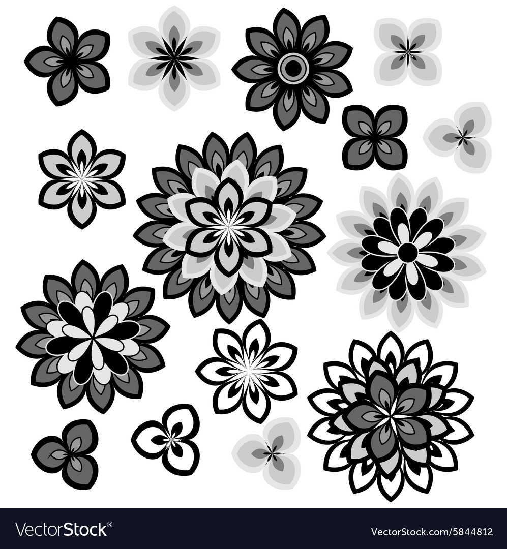 Flower petals overlapping black and white vector image mightylinksfo