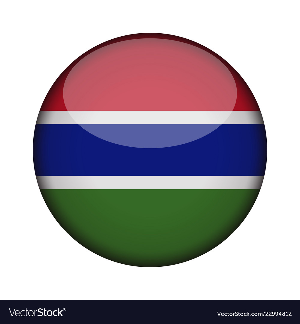 Gambia Flag In Glossy Round Button Of Icon Gambia Vector Image