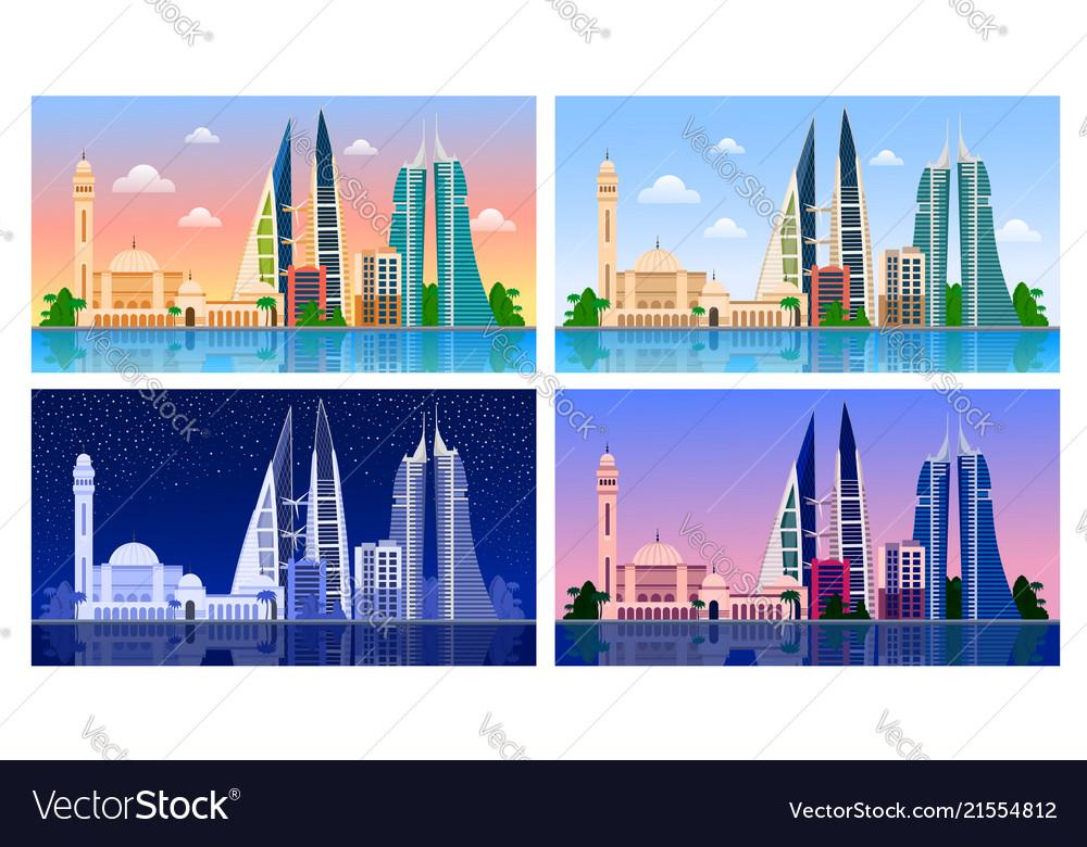 manama bahrain panoramic view royalty free vector image rh vectorstock com