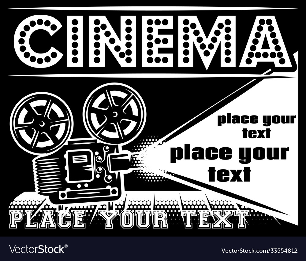 Movie theater poster with projector retro style