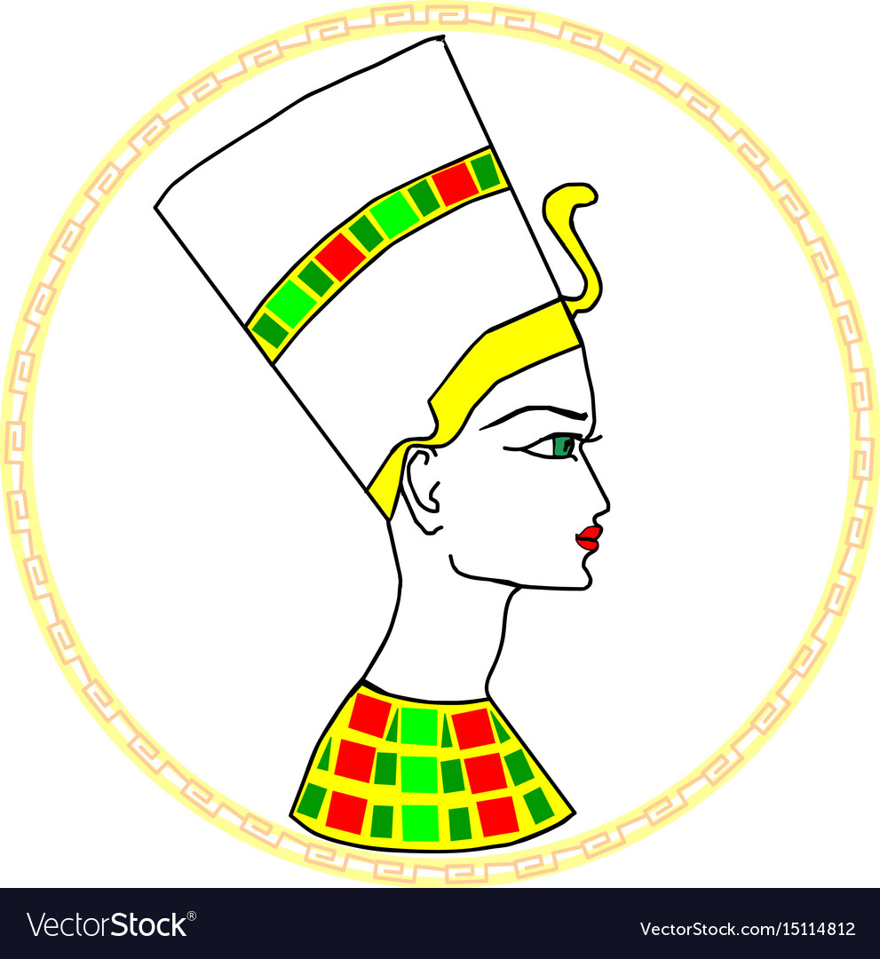 Nefertiti portrait in frame vector image