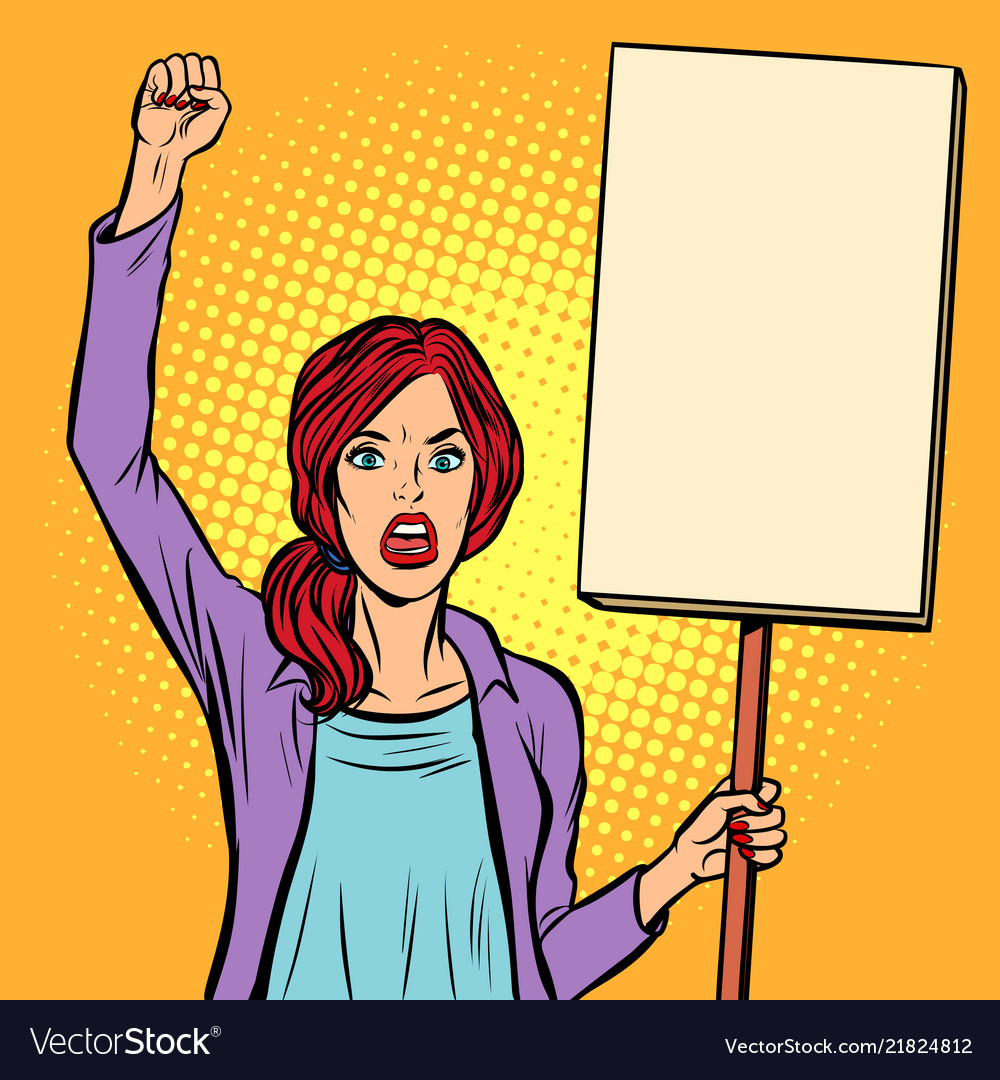 Pop art woman protesting with a poster political