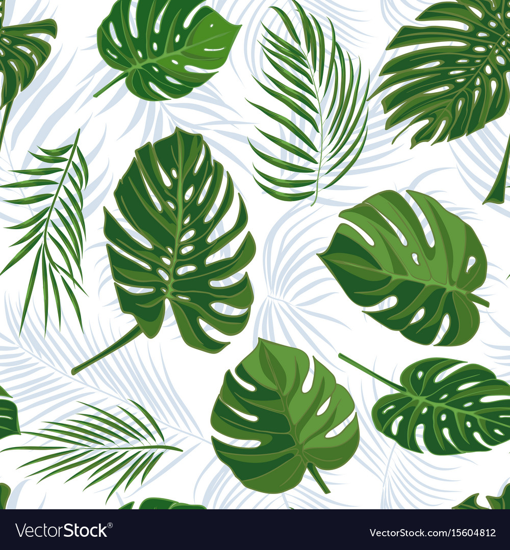 Seamless hand drawn tropical pattern with palm