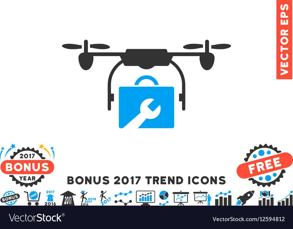 Service Drone Flat Icon With 2017 Bonus Trend vector image