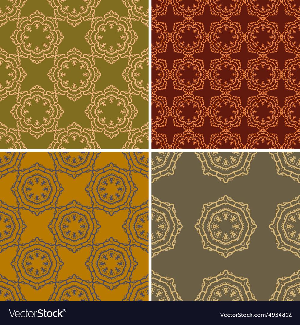 Set of four ornamental seamless pattern