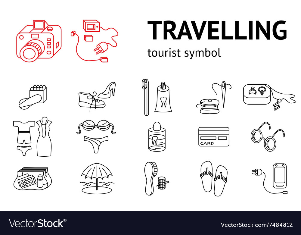 Set of line travel icons Tourism trip vacation