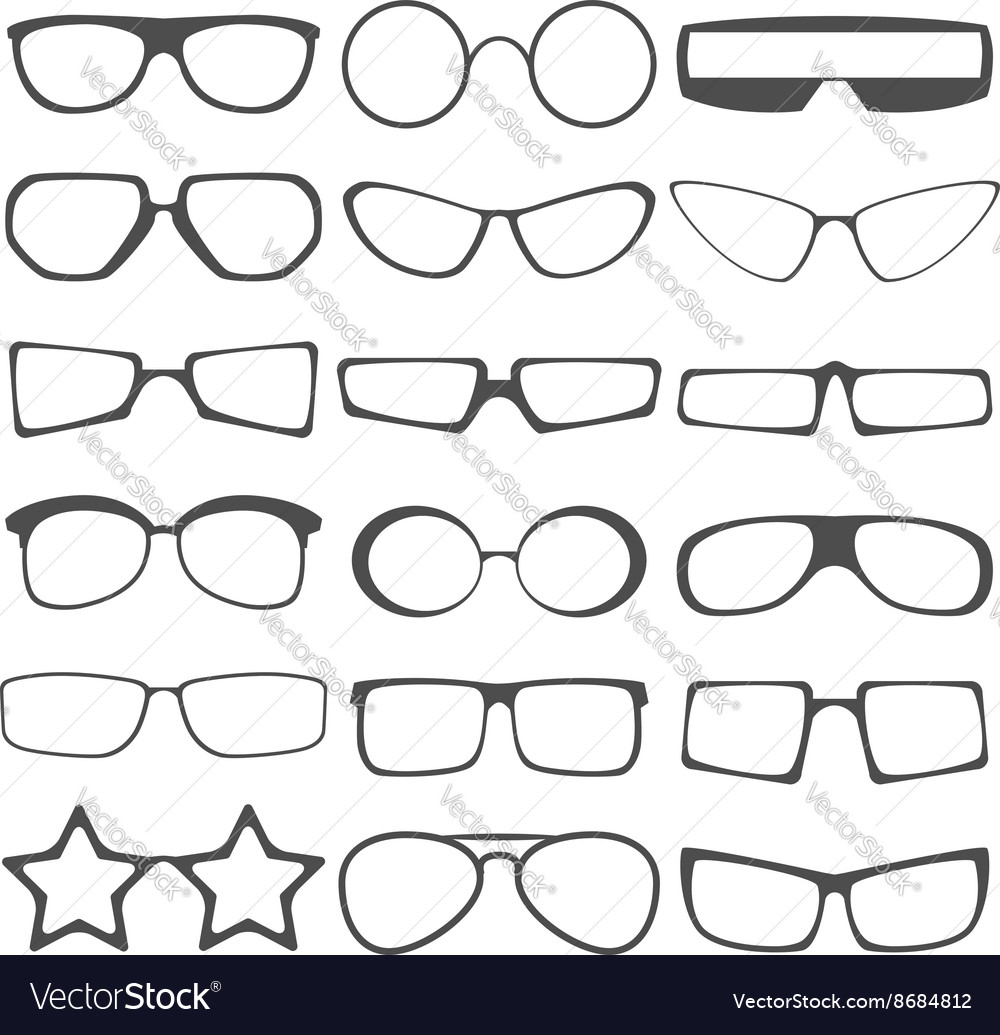 Set of the different sun glasses silhouettes