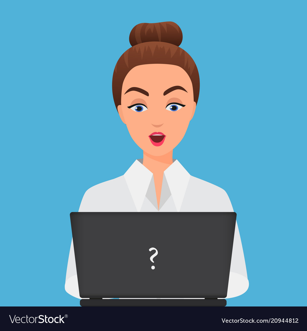 Stylish surprised office young woman with laptop