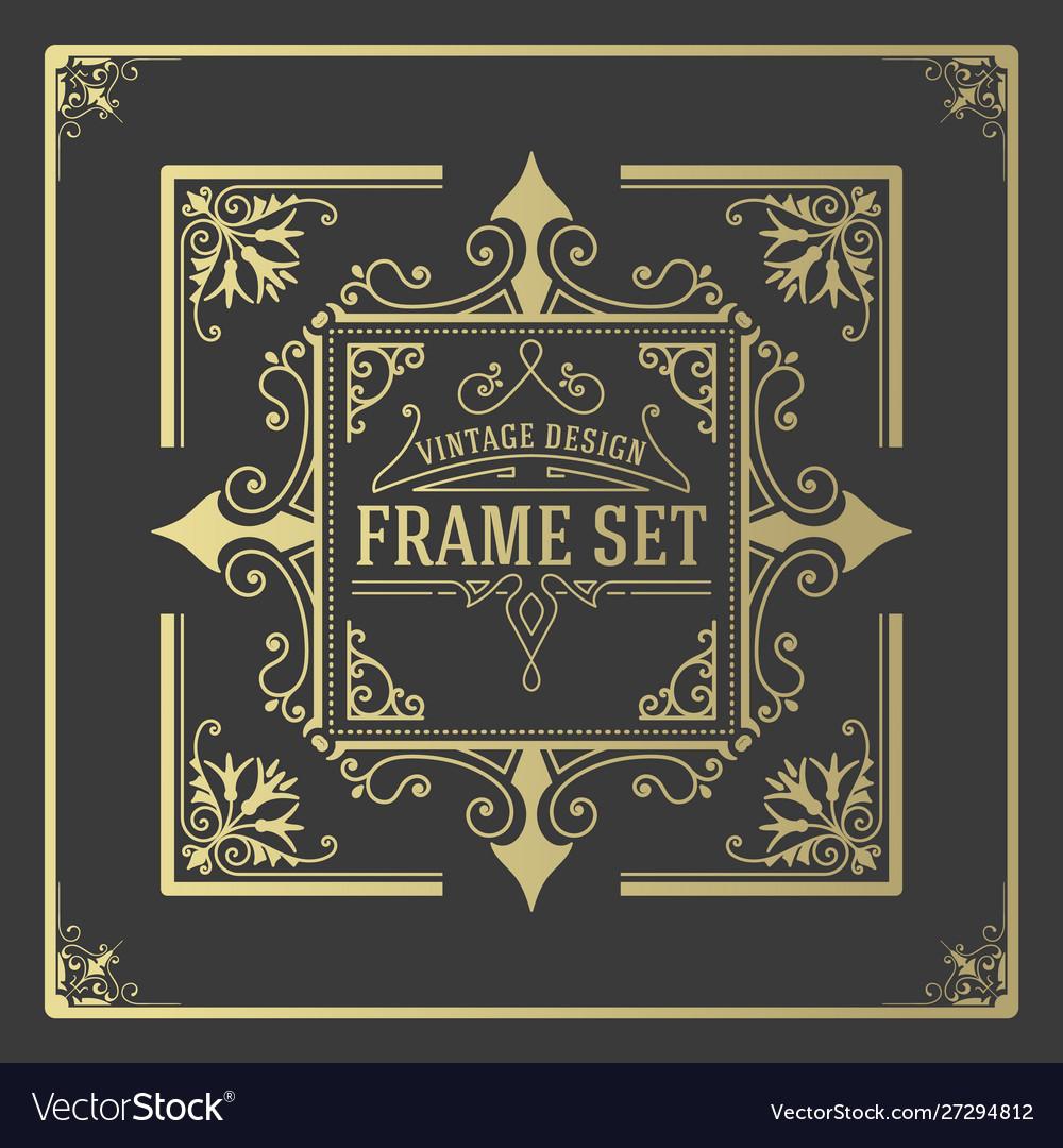 Vintage set frames template boroque borders