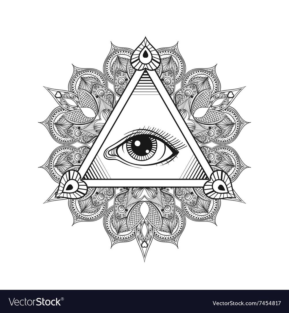 All seeing eye pyramid symbol Tattoo