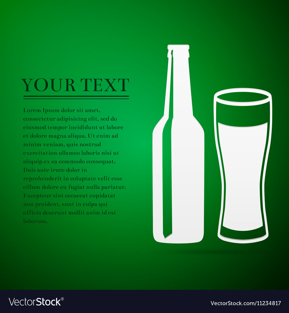 Bottle and glass of beer flat icon on green