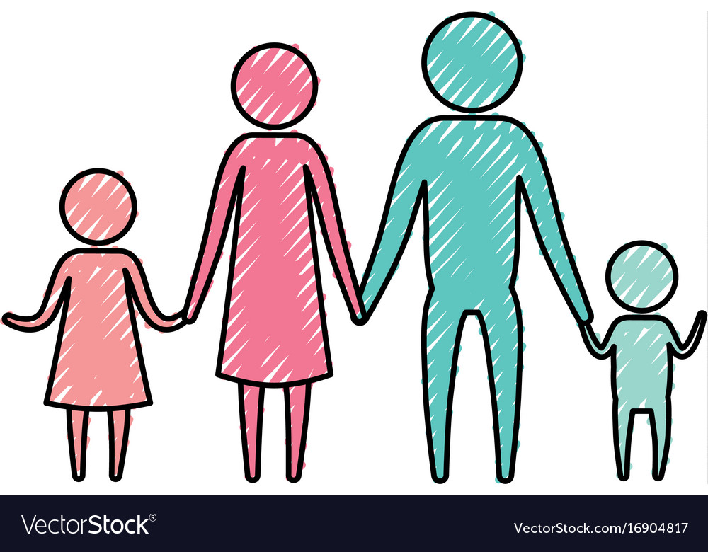 Color crayon silhouette pictogram parents with a