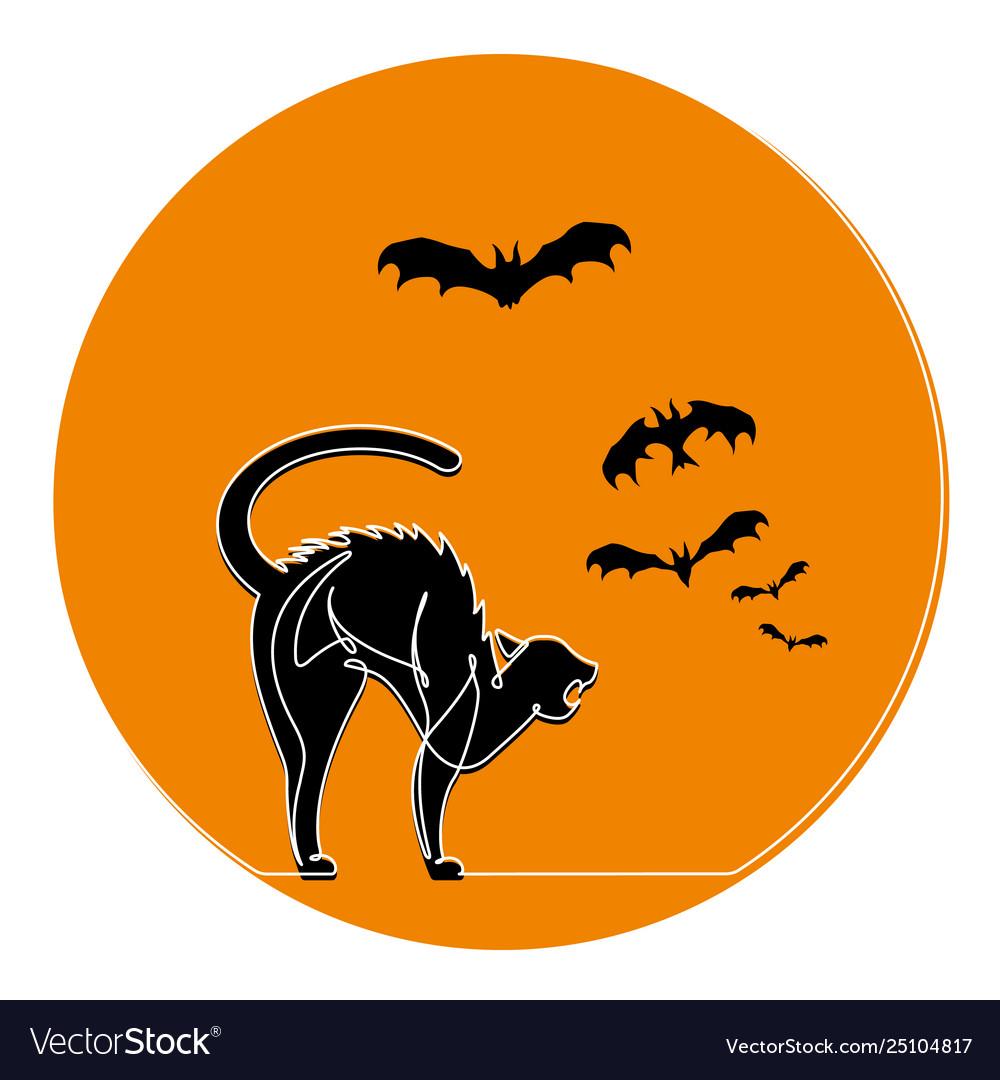 Continuous line scared cat halloween cartoo