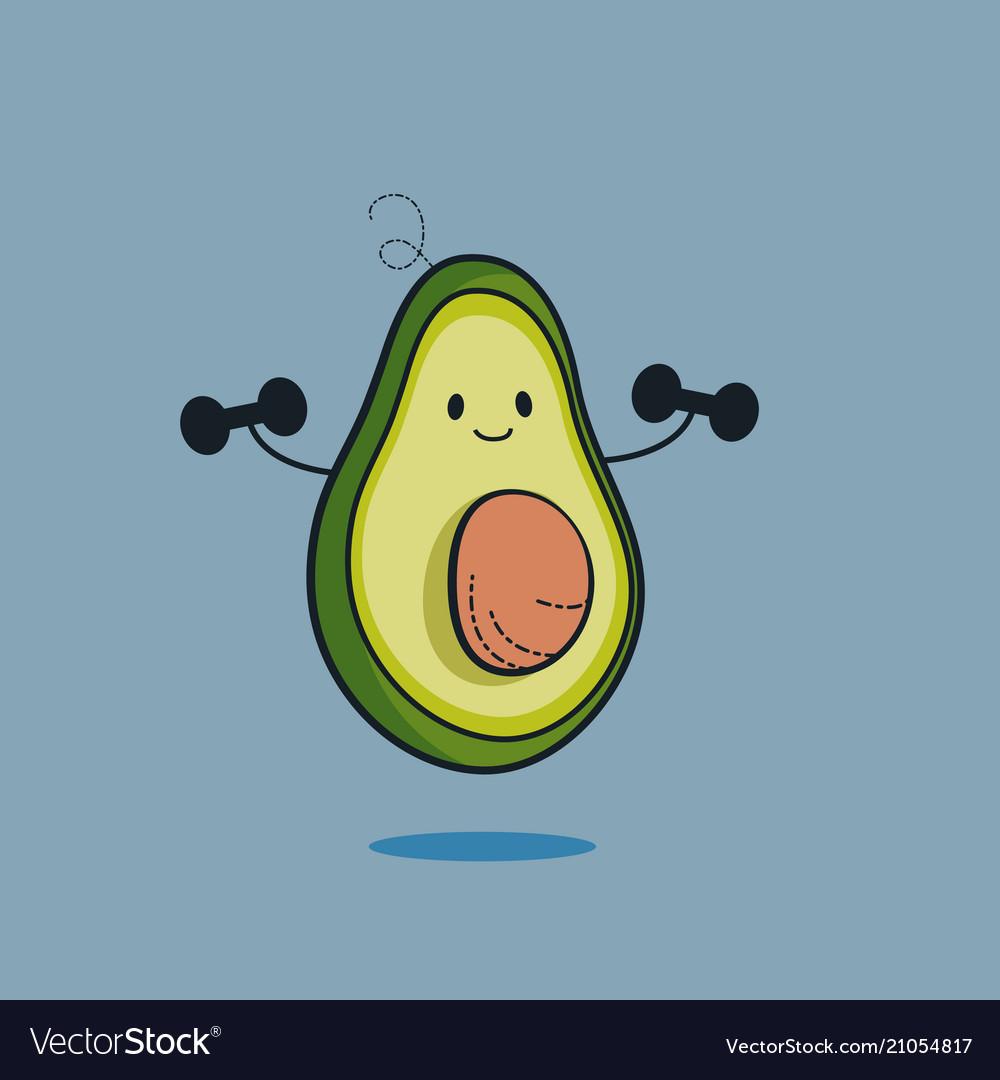 Cute avocado cartoon character doing exercises