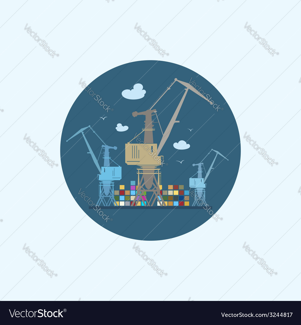 Icon with colored cargo cranes and containers